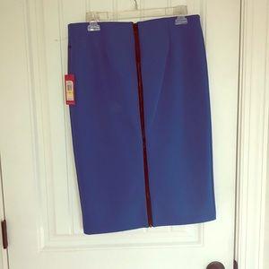 Blue zip up pencil skirt